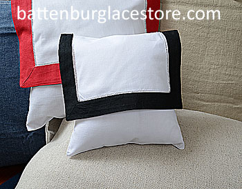 Envelope Pillow. Baby size 8 inches. White with Black color trim